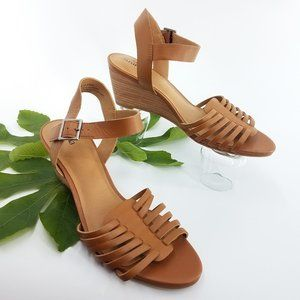 New Susina Terra Wedge Cage Brown Leather Sandals